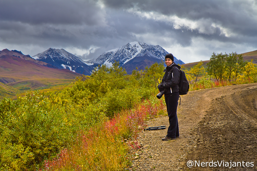 Nerd caminhando no Sable Pass - Denali National Park