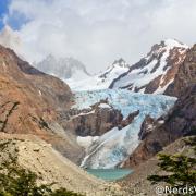Fitz Roy (no alto à esquerda) e Glaciar Piedras Blancas, vistos do mirador - El Chaltén - Patagônia Argentina